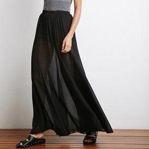 Forever 21 Black Mini Skirt w Sheer Maxi Overlay
